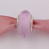 Beads de prata esterlina autêntica 925 Rosa Shimmer Murano Charme Encaixa Europeia Pandora Estilo Jóias Braceletes Colar 791650