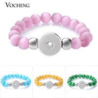 VOCHENG NOOSA Ginger Snap Schmuck Opal Perlen Elastic Stretch Armband Bunte für 18mm Austauschbare Taste 10 Farben NN-609