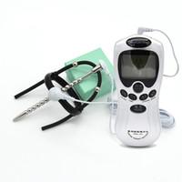 의료 테마 장난감 Glans 실리콘 반지 2 비즈 페니스 수탉 반지 요도 플러그 정조 장치 Electirc 전기 충격 장난감 I9-191
