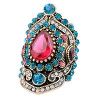 Rétro avec pierres latérales bagues bijoux turcs plaqué or antique bleu cristal turquie index de doigt bille stock en gros
