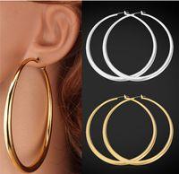 العصرية هوب أقراط كبيرة 18 كيلو الذهب الحقيقي مطلي أنيقة أكبر حجم النساء حلق الأزياء حلي المجوهرات