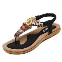 Taglia 35-42 Bohemian Women Sandals Gemstone Beaded Slippers Sandali da spiaggia estate Infradito da donna Sandali piatti da donna. LX-020