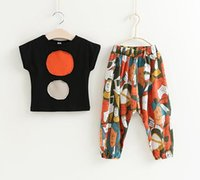 Girls Circle Patch Tee+ Cartoon Pants Outfits Summer 2017 Kid...
