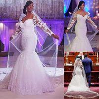 Impresionante tul-tul-hombro escote sirena vestidos de novia con apliques de encaje con cuentas, más tamaño, vestido de novia, mangas largas