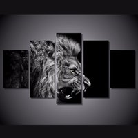 5 Pz / set Incorniciato HD Stampato Nero White Lion Immagine Wall Art Canvas Room Decor Poster Su Tela Moderna Pittura A Olio