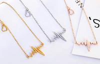 도매 새로운 도착 개성 ECG 펜던트 칼라 목걸이 티타늄 스틸은 황금 여성의 파티 선물 패션 쥬얼리 장미 무료 배송