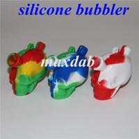 2.7 pulgadas de silicona Travel Bongs Hookah Blunt Bong Bon Bon Bubbler Junta Fumar Cráneo Burbuja Pequeño Tubos de agua Tubería de mano