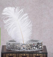 Ostrich Hair Show Headband Sequin Set Diamond Color Play Hea...