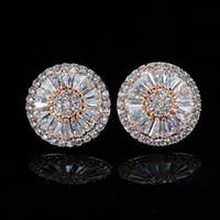 High End-Frauen-Ohrringe Weiß / Schwarz / Rose Gold überzogen Top Qualität CZ runde Ohrringe für Mädchen-Frauen für Partei-Nizza Geschenk für Freunde