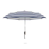 Otomatik Üç Katlanır Şemsiye 8 Kaburga Güçlü Kaliteli Şerit Şemsiye Erkekler Yağmur Rüzgar Geçirmez Yağmur Anti-Uv Güneş Şemsiye ZA3356
