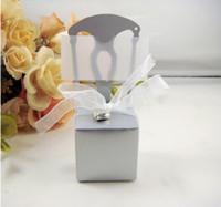 Fauteuil d'argent boîte de bonbons boîte de gâteau de mariage faveur des boîtes de chocolat décoration coeur coffrets cadeaux de mariage wit 100pcs ruban