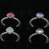 Charm Ring Size Marked 12 Mesi Regali di compleanno in argento massiccio 925 gioielli in argento stile europeo per Pandora