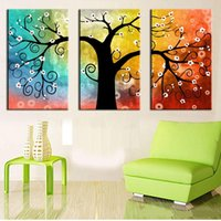 Framed Hot Sell 3 panels Colorful Big Tree, Pure Handpainted ...