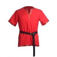 Vintage Men Medieval Tunic T Shirt with Belt Tops High Quali...