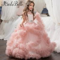 Modabelle longo turquesa pageant vestidos para meninas glitz primeira comunhão vestidos inchados para as crianças prom rosa vestidos de menina de flor