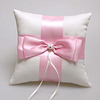 Кольцевая подушка Свадебная церемония 2019 Горячая распродажа розовая слоновая конька предъявительная подушка с большим бантом 19см * 19см обручальное кольцо подушка