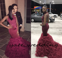 Sexy Burgundy Red Mermaid Prom Dresses High Neck Cutaway Sid...