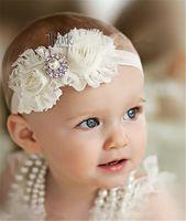 pour enfants Accessoires cheveux Shabby Fleurs bébé Enfants Bandeaux en mousseline de soie Tissu Fleur Perles strass Bouton interphones pour bébé Accès cheveux