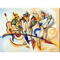 Hand Painted abstract paintings Alfred Gockel Take Five art ...