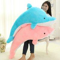 45cm 60cm 100cm jätte stora snygga fyllda djur plysch härlig stor delfin docka / blå rosa gratis frakt