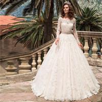 긴 소매 레이스 Applique Sash Wedding Dresses 터키 보트 넥 라인 웨딩 컨트리 웨스턴 신부 가운 Vestido de Noiva Simples
