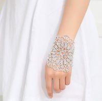 Moda Gelin Rhinestone Kristal Kol Kolçaklı Bileklik Bileklik Kadınlar Lady Ayarlanabilir Zincir Düğün Takı Hediye