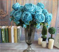 13 رؤساء الملكي الكلاسيكي الحرير الاصطناعي روز الفاوانيا باقة الرئيسية زفاف كبير الزخرفية الزهور حفل زفاف ديكور الديكور HJIA1067