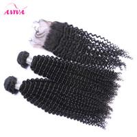 4pcs / lot 인도 kinky 컬러 버진 머리카락 폐쇄 원시 인도 버진 레미 인간의 머리카락 폐쇄 묶음 더블 위사