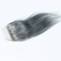 """لون رمادي بيرو إغلاق الشعر مستقيم 4 """"× 4"""" السويسري الدانتيل الأعلى إغلاق إغلاق الشعر البشري"""
