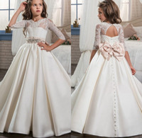 2017 Lovely Flower Girls Dresses For Weddings Half Sleeve Lace Bow Sash Crystal Girls Pageant Gowns Birthday Party