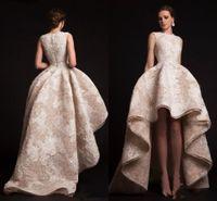 Krikor Jabotian вечерние платья Hilo оборками платья выпускного вечера круглым вырезом из органзы цветочные аппликации вечернее платье бальное платье форма