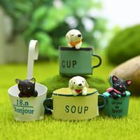 4 pz Tazza cane fata ornamenti da giardino gnomes iarda figurine in miniatura in resina bambole artigianali strumenti in resina animali bonsai
