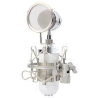 BM8000 المهنية استوديو الصوت تسجيل مكثف السلكية ميكروفون 3.5 ملليمتر التوصيل حامل حامل تصفية البوب ل ktv الكاريوكي