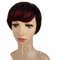 Pelucas cortas y rectas de Dark Roots Ombre Red Bob para mujeres negras Redecillas de cabello incluidas (Black Ombre Wine Red)