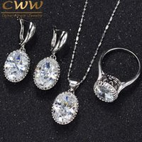 CWWZircons Crown Shape Round Oval Cut CZ Ring Necklace Earri...