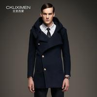 Venta al por mayor- 2016 otoño / abrigos de invierno hombres con capucha con capucha cubierta de lana chaqueta de lana solo pecho de alta calidad de alta calidad abrigo de guisante