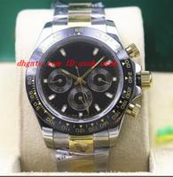 Relógio De Pulso De Luxo 116523 Mens Aço 18 K Ouro Amarelo Índice Preto Dial 40 MM Bezel Cerâmica Preto Panda Dial Relógios Mecânicos Nova Chegada