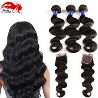 Grade 7A Peruvian Virgin Hair Body Wave With Closure 3 4 Hair Bundles With Lace Closures Cheap Human Hair With Closure