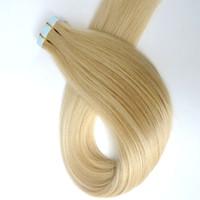 100g 40pcs / Pacote de cola de pele trama Tape em extensões do cabelo humano 18 20 22 24inch 60 # / Platinum Blonde índio brasileiro Remy Cabelo Humano