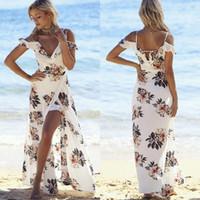 2017 gündelik yaz dress baskılı hollow out seksi v yaka maxi uzun plaj elbiseler bohemian kapalı omuz elbiseler fs2022