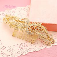Accessori per capelli da sposa fatti a mano in oro Cristalli di fascia alta da sposa Posticci delicati piccoli pettini per capelli Prom H118