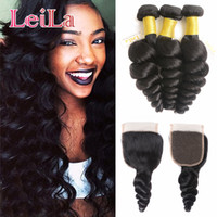 Human Hair Wefts With Lace Closure Loose Wave 3 Bundles With...