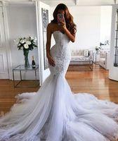 Скромное свадебное платье Mermaid 2018 новейшие модные свадебные платья на заказ Greate Vestidos de Novia Lace Reatheart Tulle Trupet Courd Train
