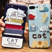 Cartoon Cat Phone Case Stress Relieve Carcasa para iPhone X 8 7 Plus 6 6S 5S