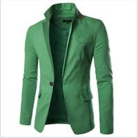 Wholesale- Dépêchez-vous achetez-le! 2017 Collier de mode designeurs Blazers Hommes Coton Link Hommes costume Veste Solid One Bouton Hommes Blâts Blazers Manteau Plus Taille