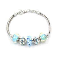 Venta al por mayor nueva llegada bricolaje cadena de trigo azul claro Aqua Lampwork Murano Glass Bead Bracelets para mujeres regalo Bijoux Pulser