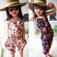بنات سروال 100٪ قطن التوائم السراويل الطفل ملابس الفتيات ملابس أطفال سترة القفز طباعة زهرة الصيف الزي الأطفال الحمالة بنطلون
