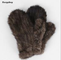 Оптом- Harppihop Fur Genuine-Mink-Fur sofe -Перчатки из натурального меха Mitten-New-Fur-Design-for-this-Winter-черный и коричневый цвета