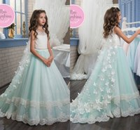 2017 Più nuovo 3D Butterfly Floral Appliques Cape Girl Pageant Abiti Lace Tulle Piano Lunghezza Flower Girl Gown Little Kids Prom Dress