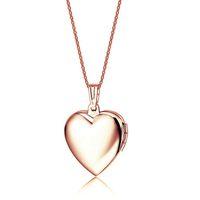 Amante oro rosa 18 carati Keepsake gioielli in acciaio rosa a forma di cuore cornice foto medaglione collana pendente reale per i monili delle ragazze